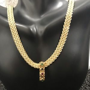 "Jewelry - SOLD 14K Gem Slide on 17"" 10K Gold 8mm Rope Chain!"